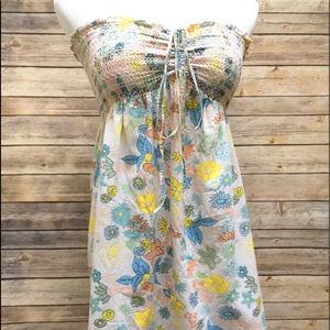 Cute 70s Inspired Floral Strapless Top Small